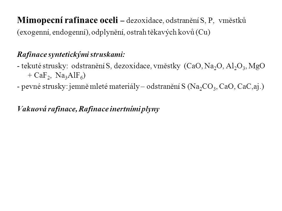 Mimopecní rafinace oceli – dezoxidace, odstranění S, P, vměstků (exogenní, endogenní), odplynění, ostrah těkavých kovů (Cu) Rafinace syntetickými stru
