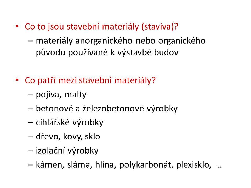Co to jsou stavební materiály (staviva)? – materiály anorganického nebo organického původu používané k výstavbě budov Co patří mezi stavební materiály