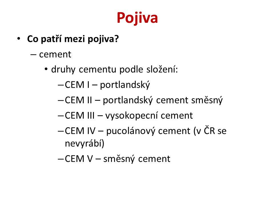 Pojiva Co patří mezi pojiva? – cement druhy cementu podle složení: – CEM I – portlandský – CEM II – portlandský cement směsný – CEM III – vysokopecní