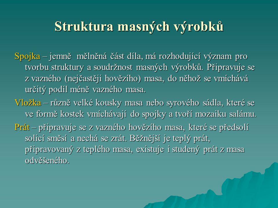 Struktura masných výrobků Spojka – jemně mělněná část díla, má rozhodující význam pro tvorbu struktury a soudržnost masných výrobků.