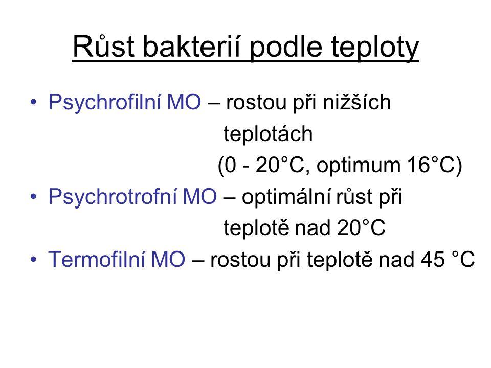 Růst bakterií podle teploty Psychrofilní MO – rostou při nižších teplotách (0 - 20°C, optimum 16°C) Psychrotrofní MO – optimální růst při teplotě nad