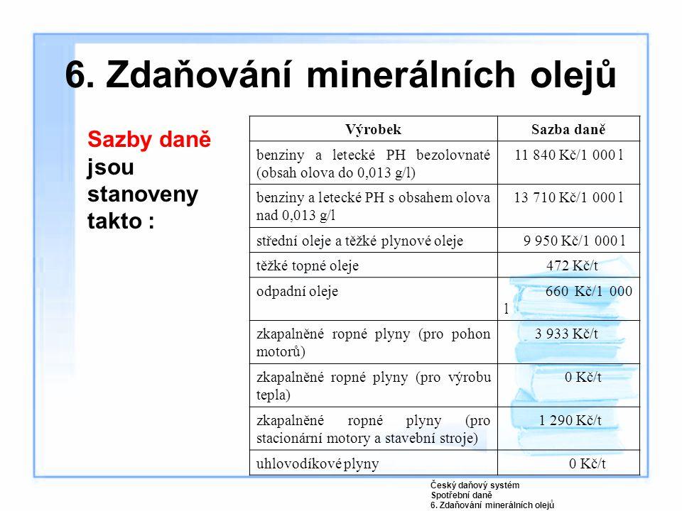 Sazby daně jsou stanoveny takto : VýrobekSazba daně benziny a letecké PH bezolovnaté (obsah olova do 0,013 g/l) 11 840 Kč/1 000 l benziny a letecké PH