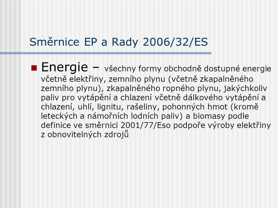 Směrnice EP a Rady 2006/32/ES Energie – všechny formy obchodně dostupné energie včetně elektřiny, zemního plynu (včetně zkapalněného zemního plynu), zkapalněného ropného plynu, jakýchkoliv paliv pro vytápění a chlazení včetně dálkového vytápění a chlazení, uhlí, lignitu, rašeliny, pohonných hmot (kromě leteckých a námořních lodních paliv) a biomasy podle definice ve směrnici 2001/77/Eso podpoře výroby elektřiny z obnovitelných zdrojů