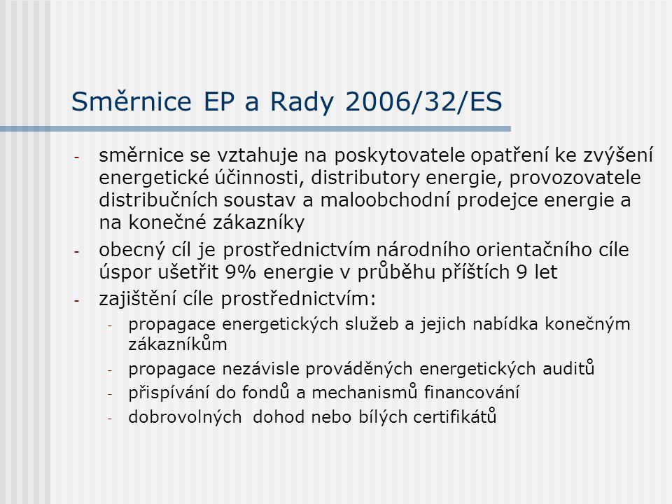 Směrnice EP a Rady 2006/32/ES - směrnice se vztahuje na poskytovatele opatření ke zvýšení energetické účinnosti, distributory energie, provozovatele distribučních soustav a maloobchodní prodejce energie a na konečné zákazníky - obecný cíl je prostřednictvím národního orientačního cíle úspor ušetřit 9% energie v průběhu příštích 9 let - zajištění cíle prostřednictvím: - propagace energetických služeb a jejich nabídka konečným zákazníkům - propagace nezávisle prováděných energetických auditů - přispívání do fondů a mechanismů financování - dobrovolných dohod nebo bílých certifikátů