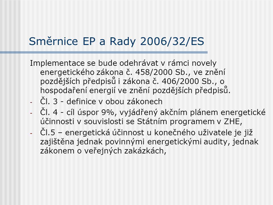 Směrnice EP a Rady 2006/32/ES Implementace se bude odehrávat v rámci novely energetického zákona č.