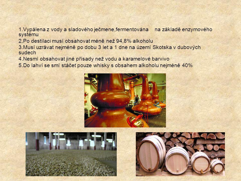 1.Vypálena z vody a sladového ječmene,fermentována na základě enzymového systému 2.Po destilaci musí obsahovat méně než 94,8% alkoholu 3.Musí uzrávat