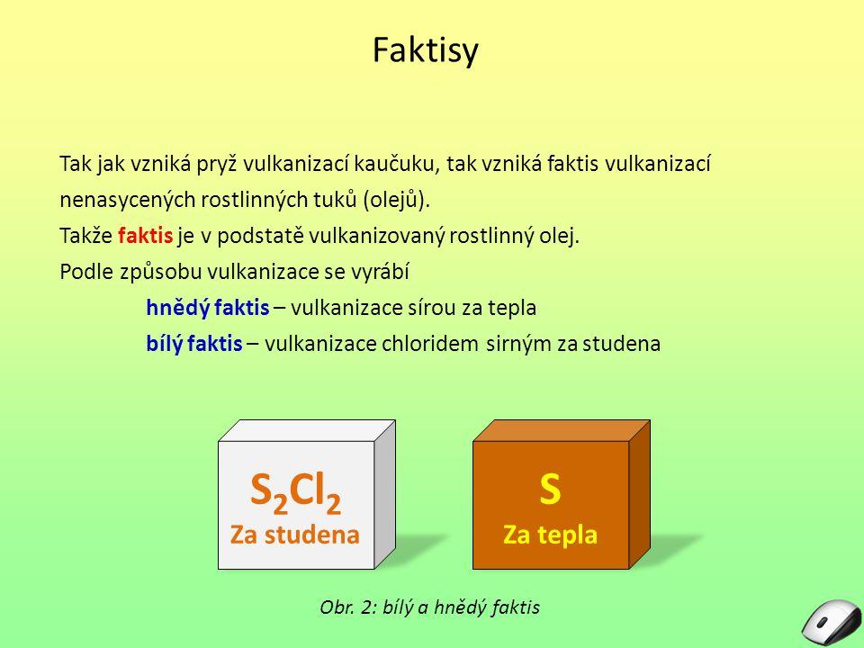 Faktisy Tak jak vzniká pryž vulkanizací kaučuku, tak vzniká faktis vulkanizací nenasycených rostlinných tuků (olejů). Takže faktis je v podstatě vulka