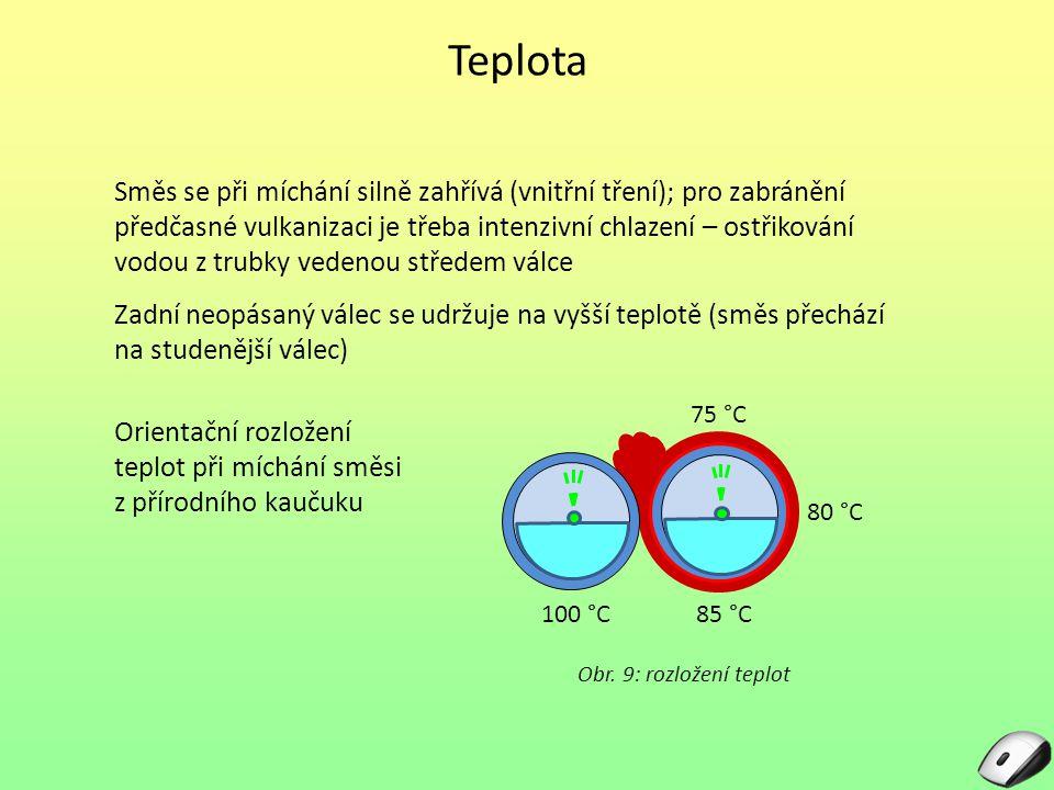 Teplota Směs se při míchání silně zahřívá (vnitřní tření); pro zabránění předčasné vulkanizaci je třeba intenzivní chlazení – ostřikování vodou z trub