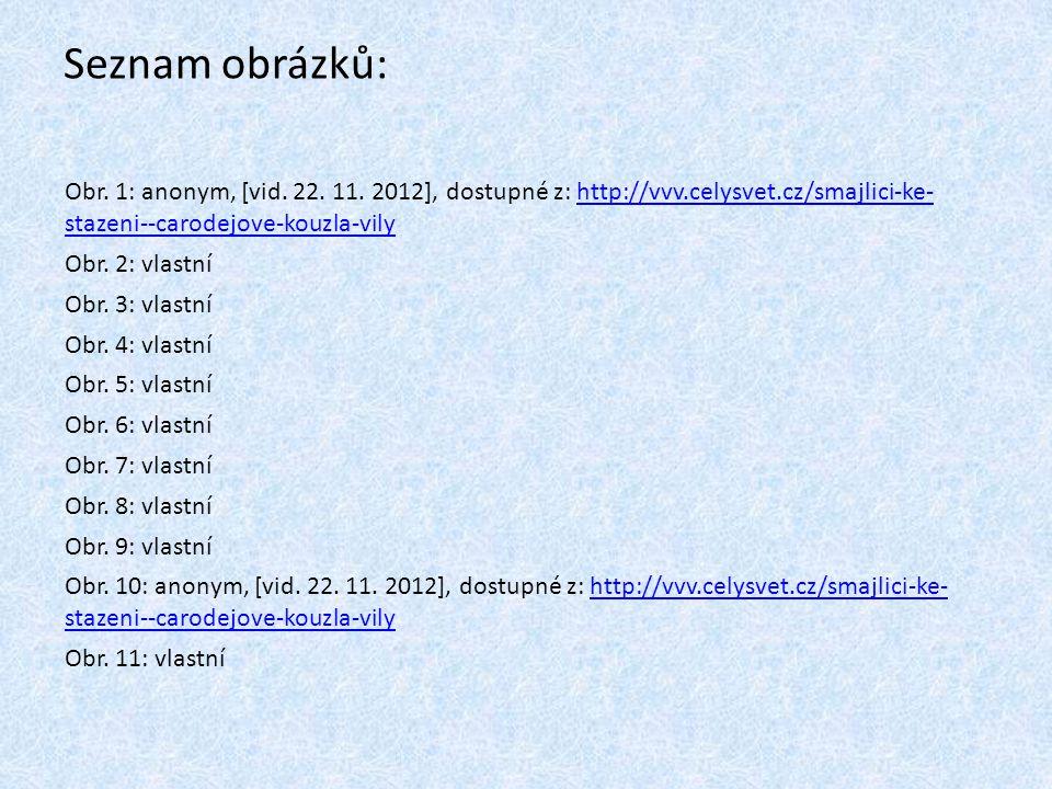 Seznam obrázků: Obr. 1: anonym, [vid. 22. 11. 2012], dostupné z: http://vvv.celysvet.cz/smajlici-ke- stazeni--carodejove-kouzla-vilyhttp://vvv.celysve
