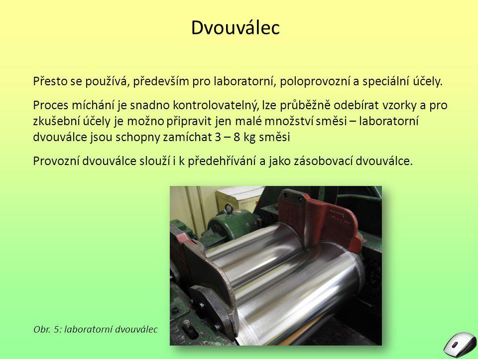 Dvouválec Přesto se používá, především pro laboratorní, poloprovozní a speciální účely. Proces míchání je snadno kontrolovatelný, lze průběžně odebíra