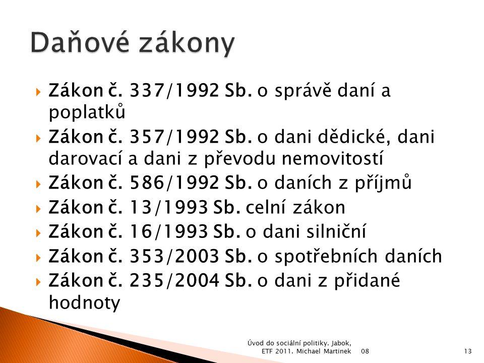  Zákon č. 337/1992 Sb. o správě daní a poplatků  Zákon č.