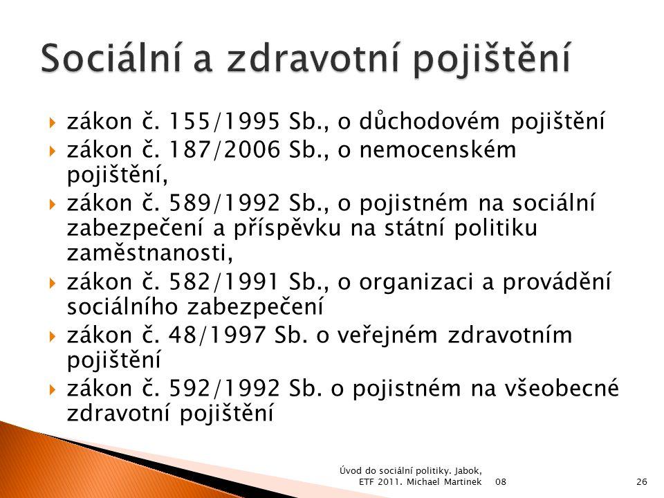  zákon č. 155/1995 Sb., o důchodovém pojištění  zákon č.