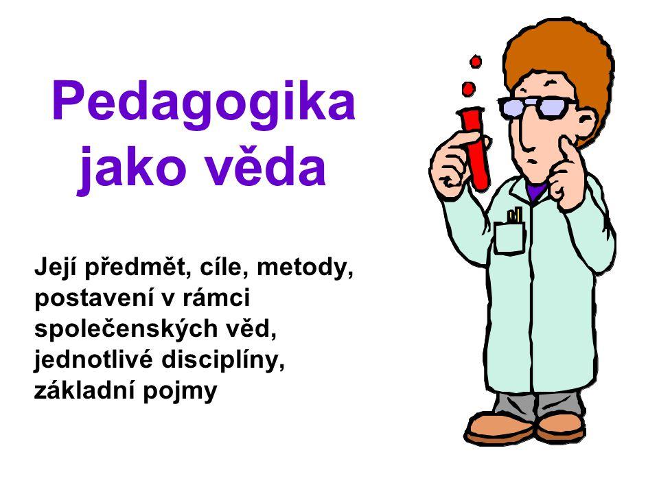 2 Pedagogika jako věda Cíl Předmět Metodologie Definice Základní pedagogické disciplíny Spolupracující disciplíny Hraniční disciplíny UZB002 podzim 2011