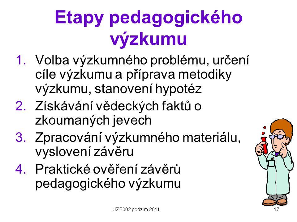 17 Etapy pedagogického výzkumu 1.Volba výzkumného problému, určení cíle výzkumu a příprava metodiky výzkumu, stanovení hypotéz 2.Získávání vědeckých f