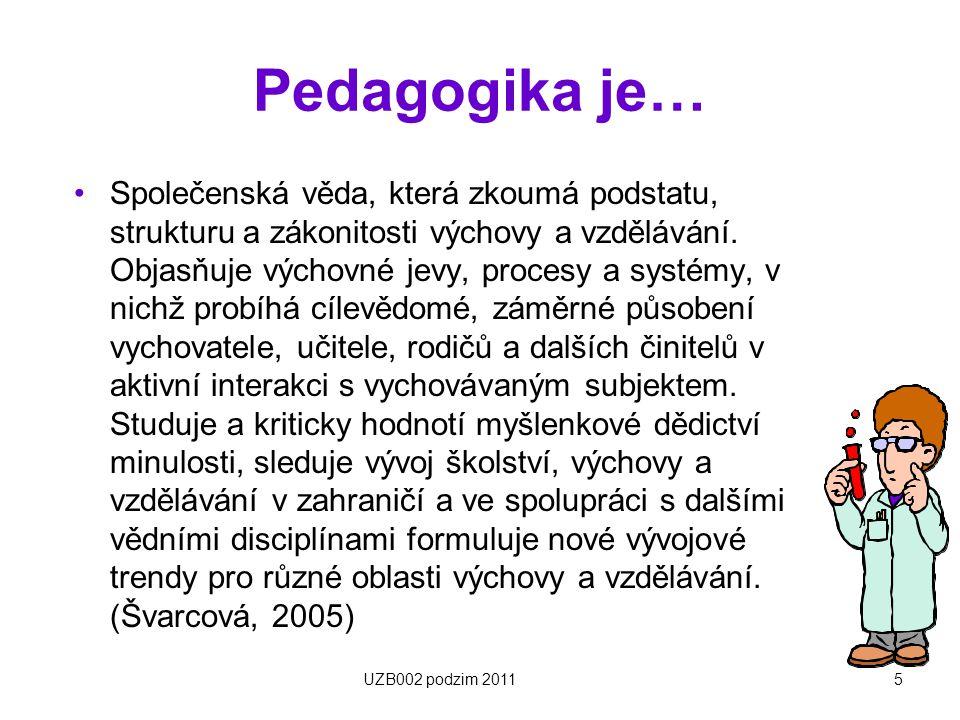Základní pedagogické disciplíny Horizontální dělení –Obecná pedagogika –Didaktika –Teorie výchovy –Sociální pedagogika –Andragogika –Srovnávací pedagogika –Dějiny pedagogiky –Speciální pedagogika 6UZB002 podzim 2011