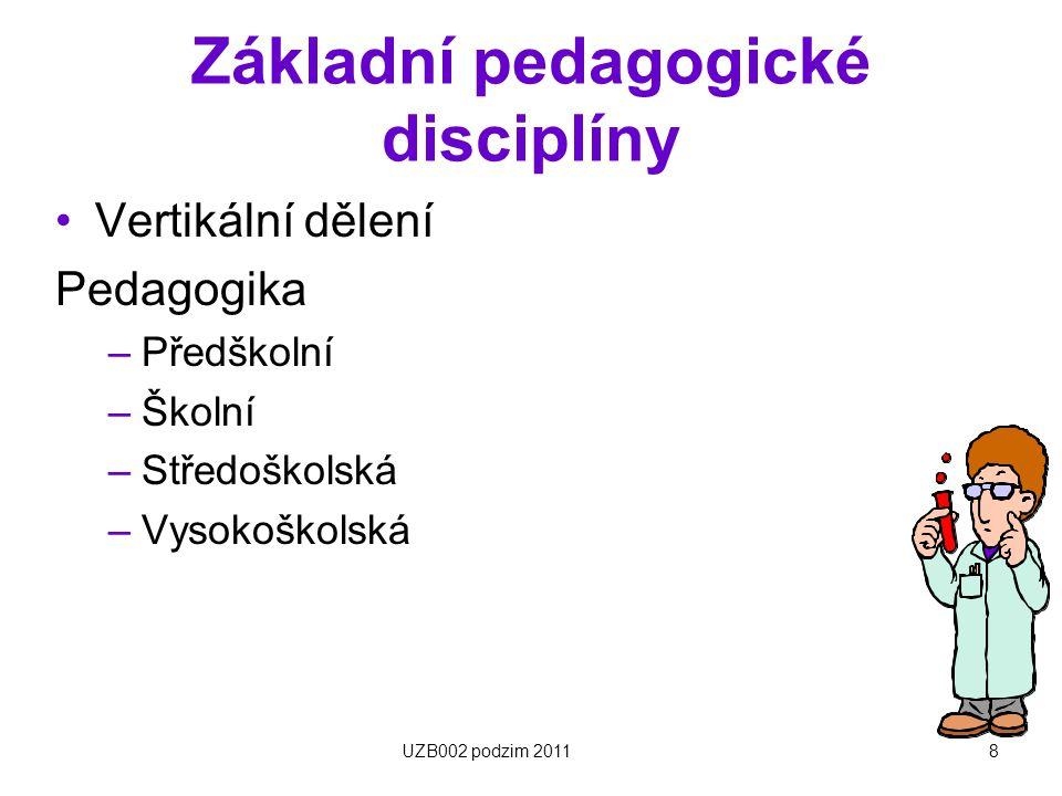 8 Základní pedagogické disciplíny Vertikální dělení Pedagogika –Předškolní –Školní –Středoškolská –Vysokoškolská UZB002 podzim 2011