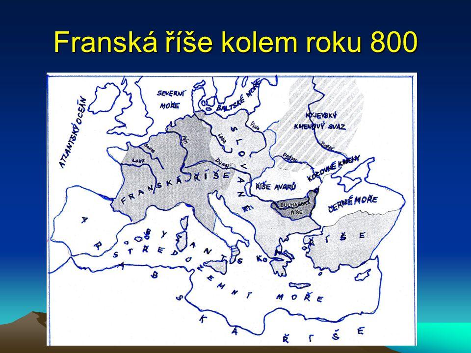 Frankové germánské kmeny v západní Evropě král Chlodvík, přijal křesťanství, krutý útoky na Slovany zamezili arabskému pronikání do Evropy