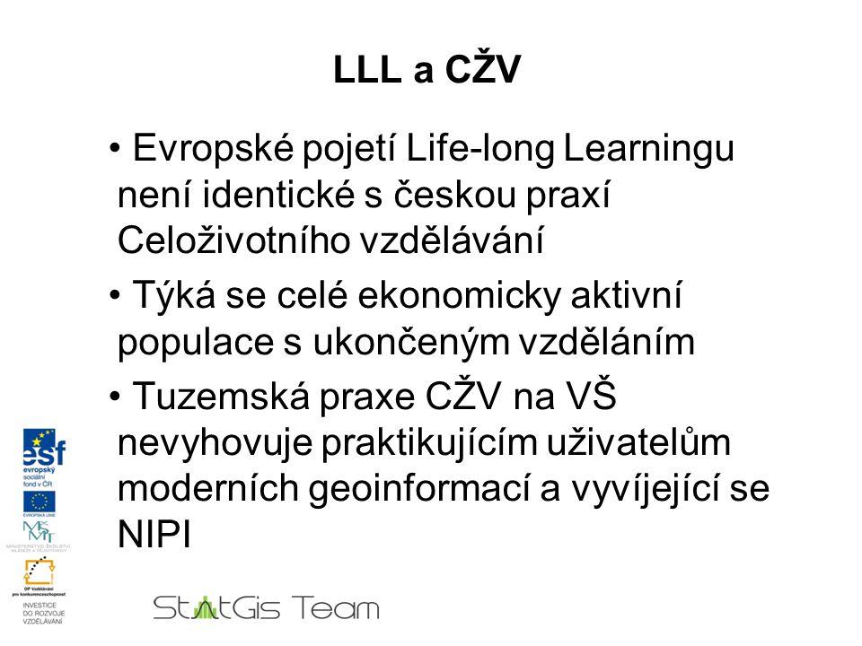 LLL a CŽV Evropské pojetí Life-long Learningu není identické s českou praxí Celoživotního vzdělávání Týká se celé ekonomicky aktivní populace s ukončeným vzděláním Tuzemská praxe CŽV na VŠ nevyhovuje praktikujícím uživatelům moderních geoinformací a vyvíjející se NIPI