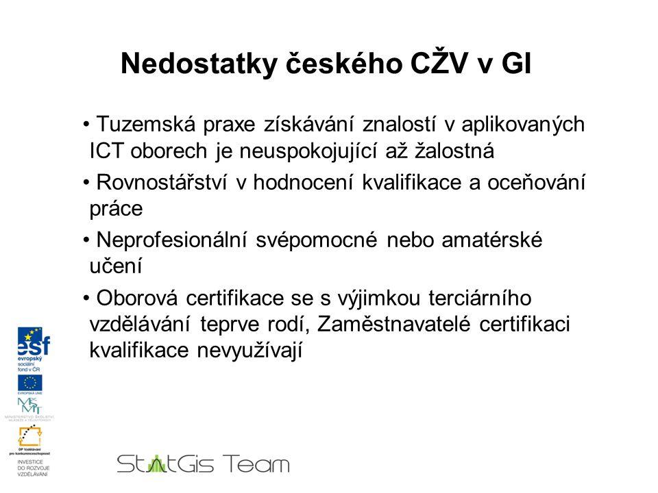 Nedostatky českého CŽV v GI Tuzemská praxe získávání znalostí v aplikovaných ICT oborech je neuspokojující až žalostná Rovnostářství v hodnocení kvalifikace a oceňování práce Redukují se rozpočtové výdaje na udržení a zvyšování kvalifikace Strukturální fondy byly pro tyto účely využity nedostatečně Neprofesionální svépomocné nebo amatérské učení Oborová certifikace se s výjimkou terciárního vzdělávání teprve rodí, Zaměstnavatelé certifikaci kvalifikace nevyužívají.