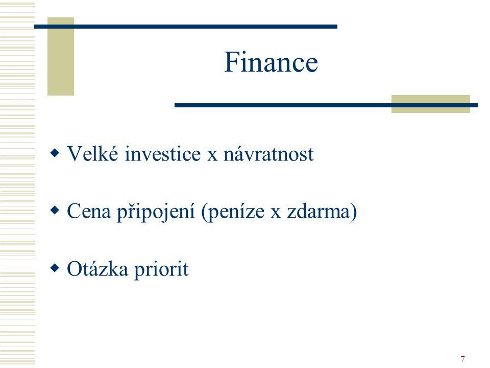 7 Finance  Velké investice x návratnost  Cena připojení (peníze x zdarma)  Otázka priorit