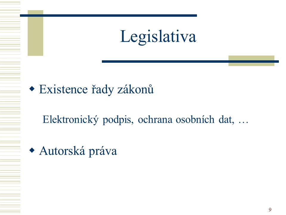 9 Legislativa  Existence řady zákonů Elektronický podpis, ochrana osobních dat, …  Autorská práva