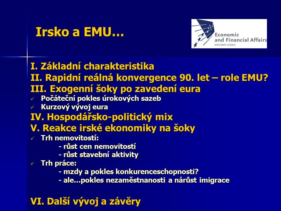 Irsko a EMU… I. Základní charakteristika II. Rapidní reálná konvergence 90. let – role EMU? III. Exogenní šoky po zavedení eura Počáteční pokles úroko