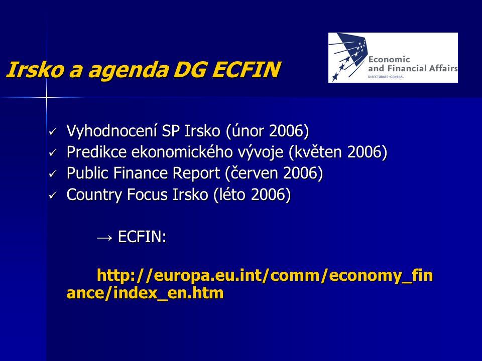 Vyhodnocení SP Irsko (únor 2006) Vyhodnocení SP Irsko (únor 2006) Predikce ekonomického vývoje (květen 2006) Predikce ekonomického vývoje (květen 2006