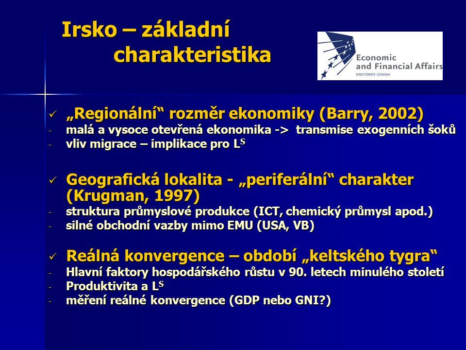 """Irsko – základní charakteristika """"Regionální"""" rozměr ekonomiky (Barry, 2002) """"Regionální"""" rozměr ekonomiky (Barry, 2002) - malá a vysoce otevřená ekon"""