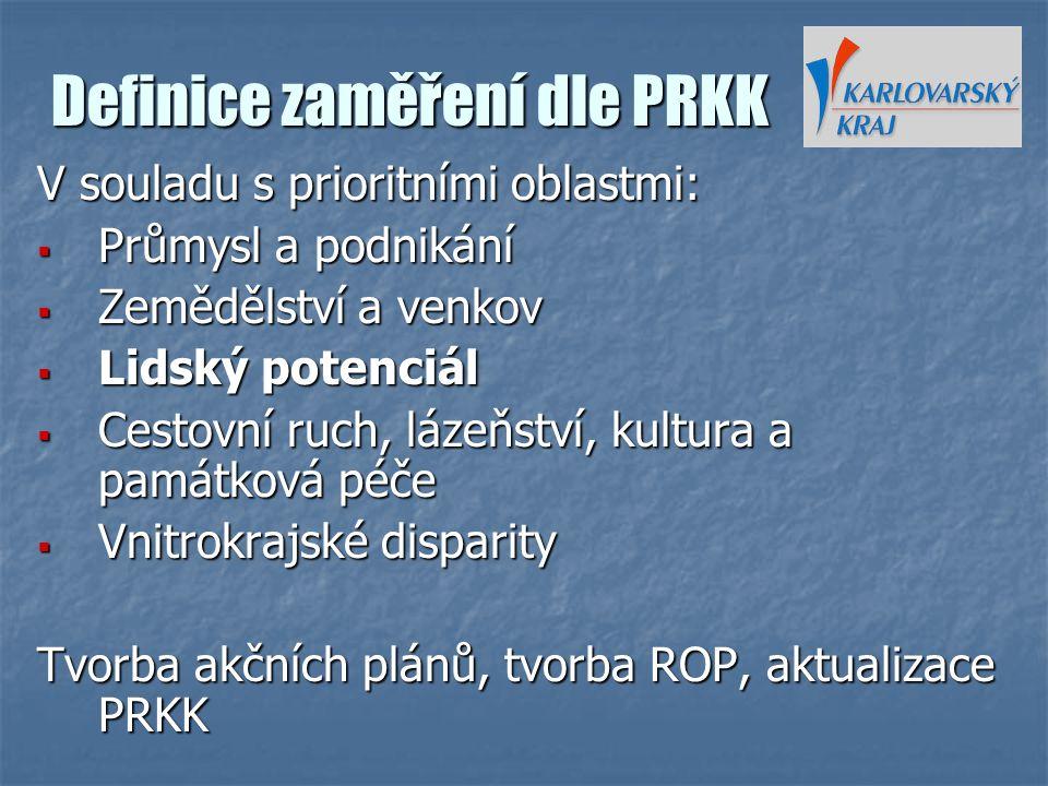Definice zaměření dle PRKK V souladu s prioritními oblastmi:  Průmysl a podnikání  Zemědělství a venkov  Lidský potenciál  Cestovní ruch, lázeňstv
