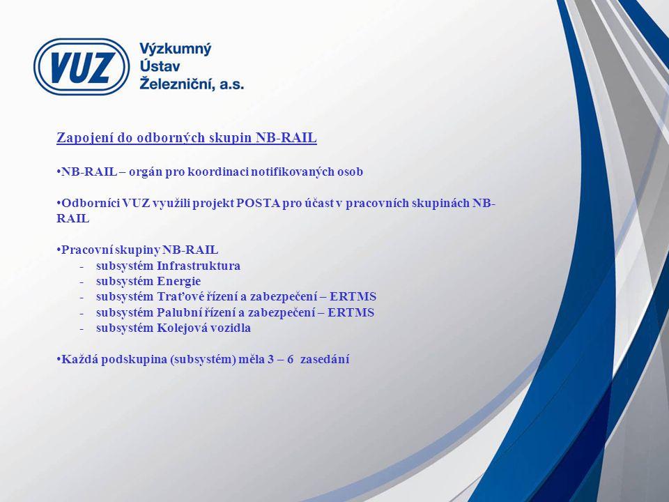 Zapojení do odborných skupin NB-RAIL NB-RAIL – orgán pro koordinaci notifikovaných osob Odborníci VUZ využili projekt POSTA pro účast v pracovních skupinách NB- RAIL Pracovní skupiny NB-RAIL - subsystém Infrastruktura - subsystém Energie - subsystém Traťové řízení a zabezpečení – ERTMS - subsystém Palubní řízení a zabezpečení – ERTMS - subsystém Kolejová vozidla Každá podskupina (subsystém) měla 3 – 6 zasedání