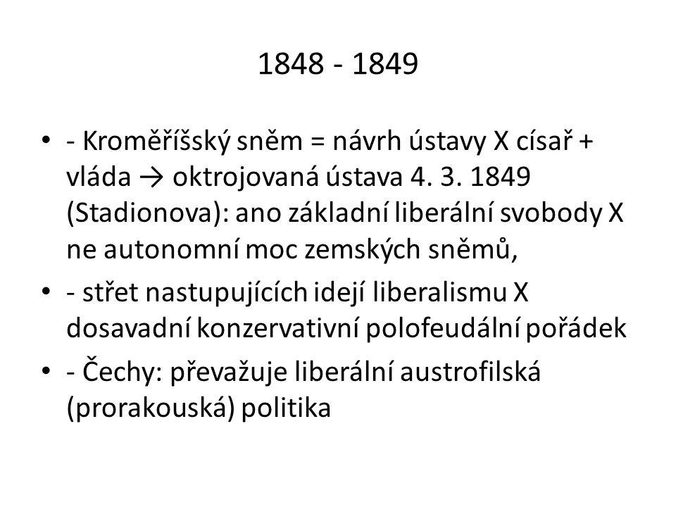 1870 - 1993 Český klub na říšské radě: 4 frakce (Staročeši, Mladočeši, Moravané a aristokraté – klíčové postavení) - od 80.