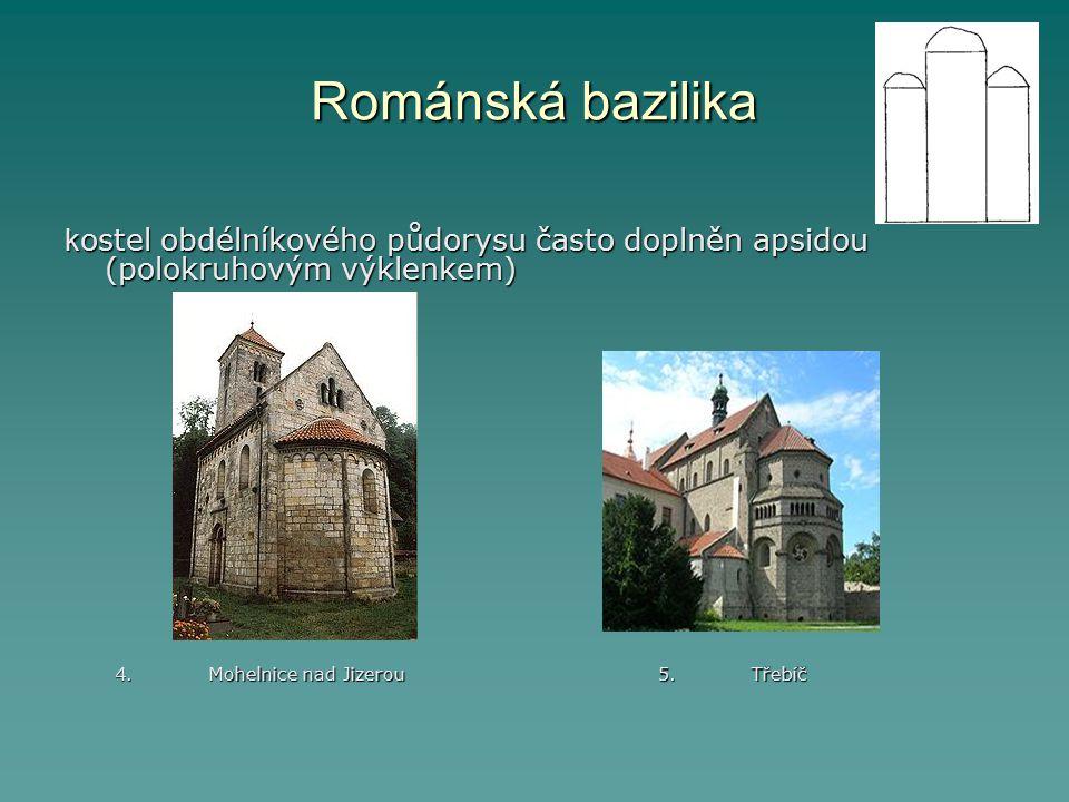 Románská bazilika k ostel obdélníkového půdorysu často doplněn apsidou (polokruhovým výklenkem) 4. Mohelnice nad Jizerou 5. Třebíč 4. Mohelnice nad Ji