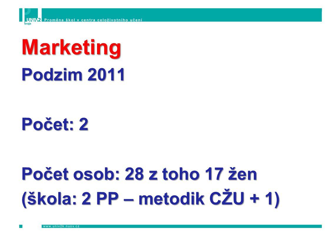 Marketing Podzim 2011 Počet: 2 Počet osob: 28 z toho 17 žen (škola: 2 PP – metodik CŽU + 1)