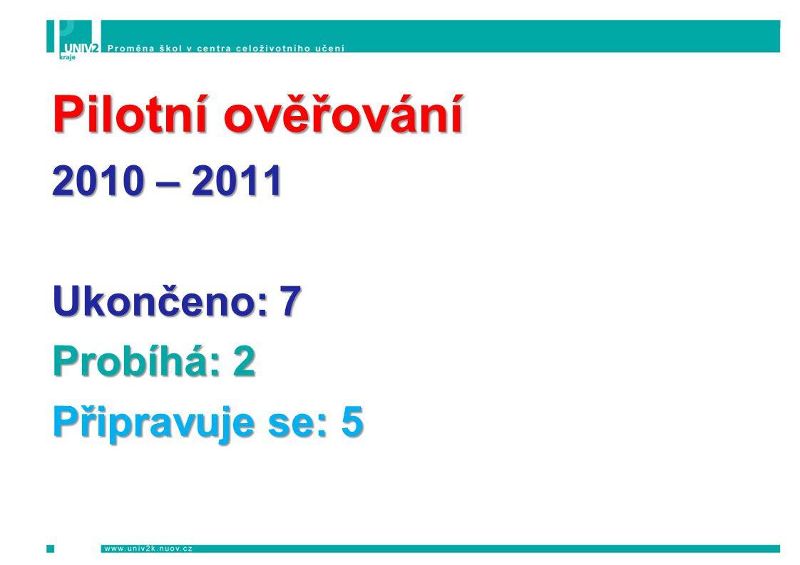 Pilotní ověřování 2010 – 2011 Ukončeno: 7 Probíhá: 2 Připravuje se: 5