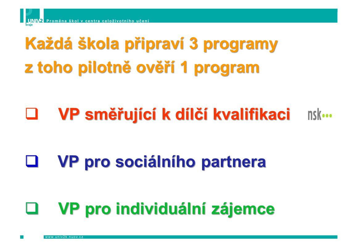Každá škola připraví 3 programy z toho pilotně ověří 1 program VP směřující k dílčí kvalifikaci  VP směřující k dílčí kvalifikaci  VP pro sociálního partnera  VP pro individuální zájemce
