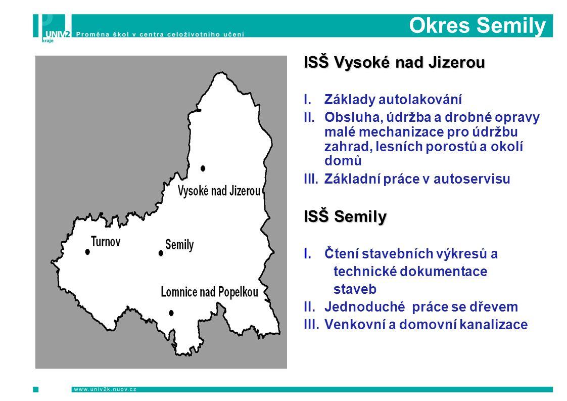 Okres Semily PODZIM 2009 Informační a motivační semináře Počet Počet osob ISŠ Vysoké nad Jizerou I.Základy autolakování II.Obsluha, údržba a drobné op