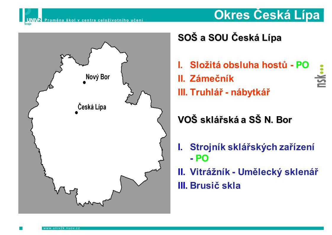 Okres Česká Lípa PODZIM 2009 Informační a motivační semináře Počet Počet osob SOŠ a SOU Česká Lípa I.Složitá obsluha hostů - PO II.Zámečník III.Truhlá