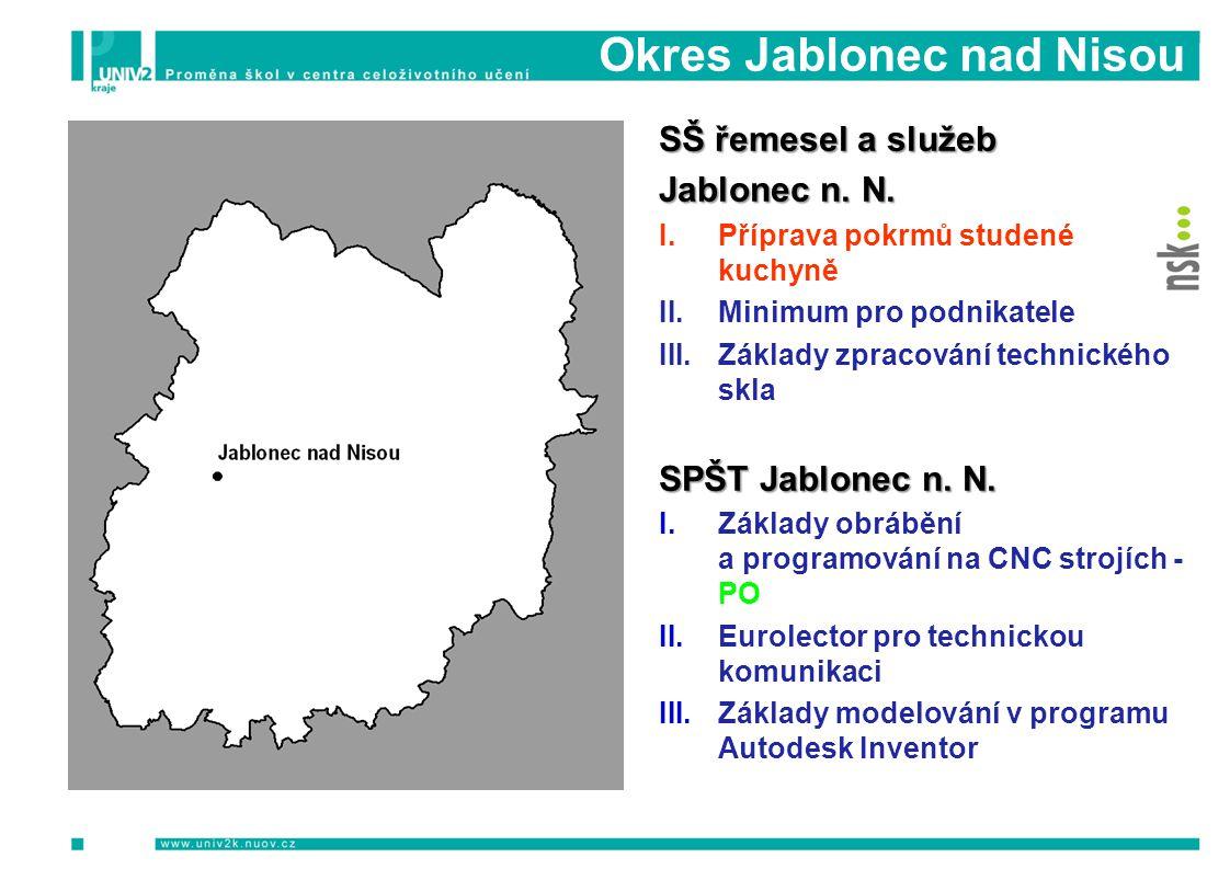 Okres Jablonec nad Nisou PODZIM 2009 Informační a motivační semináře Počet Počet osob SŠ řemesel a služeb Jablonec n. N. I.Příprava pokrmů studené kuc