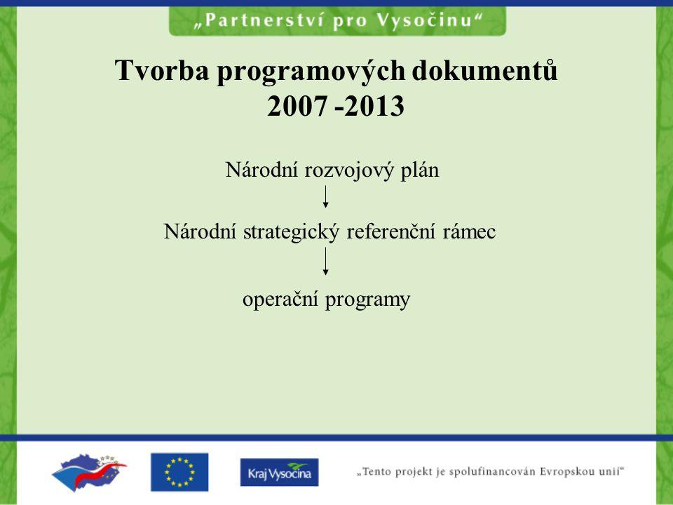 Tvorba programových dokumentů 2007 -2013 Národní rozvojový plán Národní strategický referenční rámec operační programy