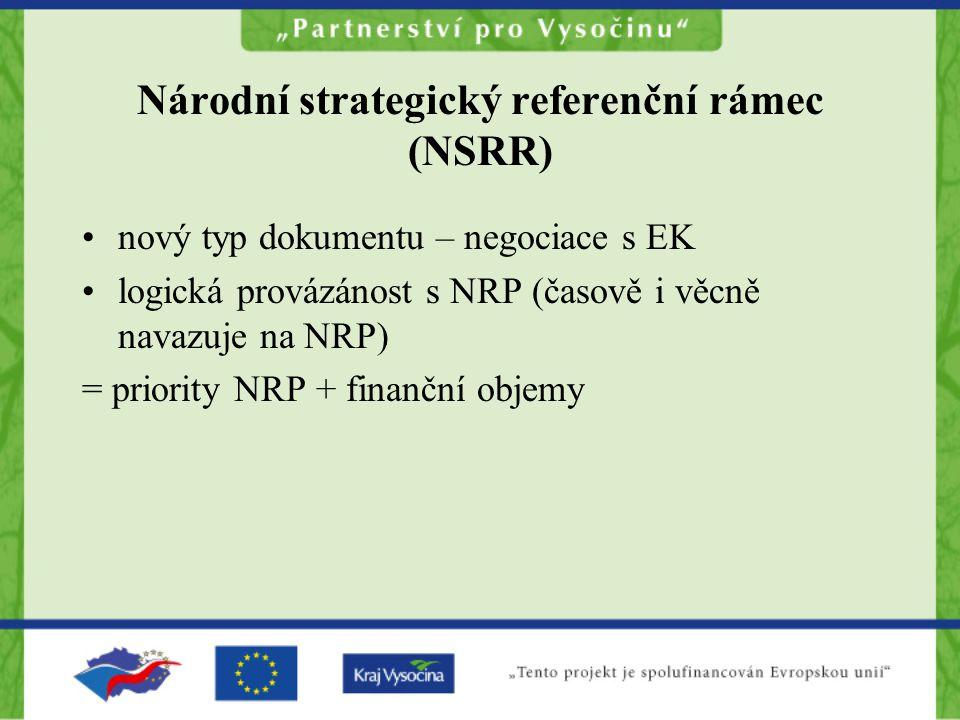 Národní strategický referenční rámec (NSRR) nový typ dokumentu – negociace s EK logická provázánost s NRP (časově i věcně navazuje na NRP) = priority NRP + finanční objemy