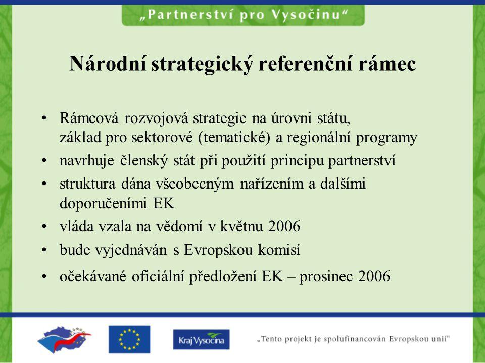 Národní strategický referenční rámec Rámcová rozvojová strategie na úrovni státu, základ pro sektorové (tematické) a regionální programy navrhuje člen