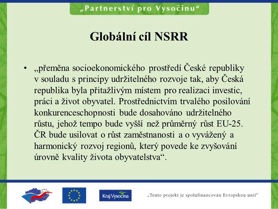 """Globální cíl NSRR """"přeměna socioekonomického prostředí České republiky v souladu s principy udržitelného rozvoje tak, aby Česká republika byla přitažlivým místem pro realizaci investic, práci a život obyvatel."""