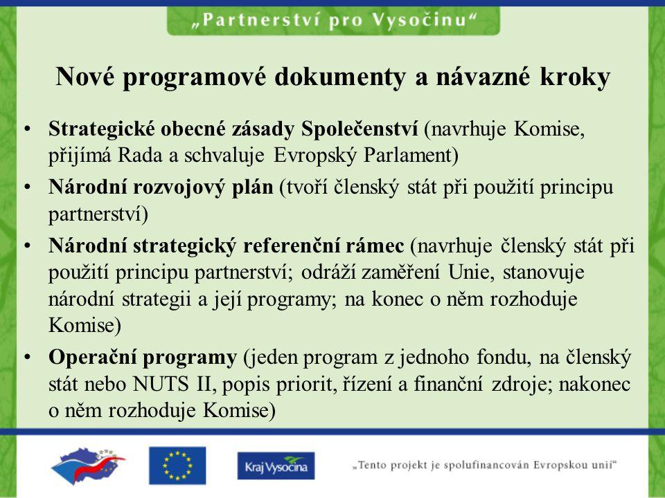 Nové programové dokumenty a návazné kroky Strategické obecné zásady Společenství (navrhuje Komise, přijímá Rada a schvaluje Evropský Parlament) Národn