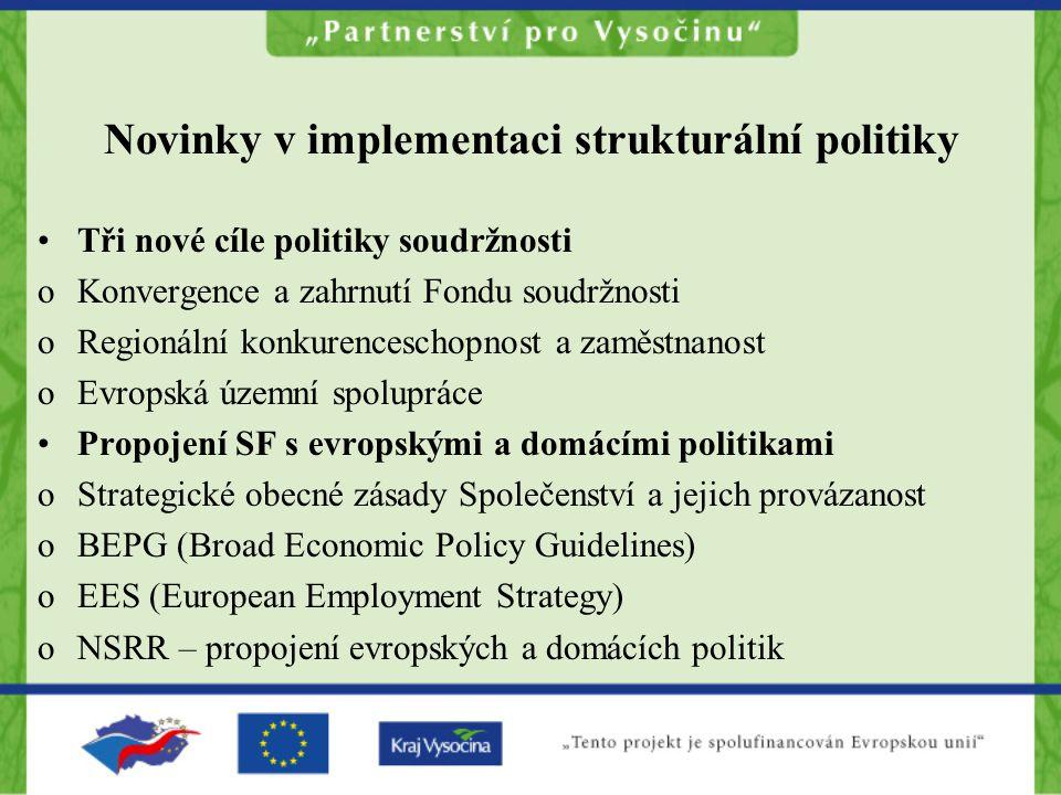 Novinky v implementaci strukturální politiky Tři nové cíle politiky soudržnosti oKonvergence a zahrnutí Fondu soudržnosti oRegionální konkurenceschopnost a zaměstnanost oEvropská územní spolupráce Propojení SF s evropskými a domácími politikami oStrategické obecné zásady Společenství a jejich provázanost oBEPG (Broad Economic Policy Guidelines) oEES (European Employment Strategy) oNSRR – propojení evropských a domácích politik