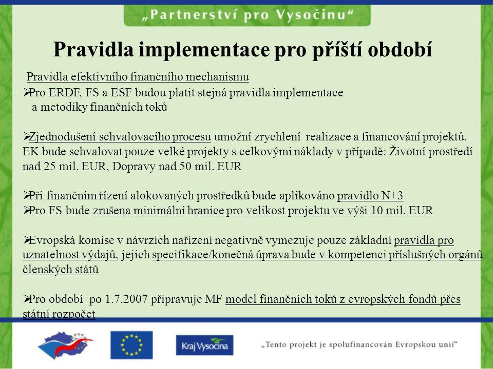Pravidla implementace pro příští období Pravidla efektivního finančního mechanismu  Pro ERDF, FS a ESF budou platit stejná pravidla implementace a metodiky finančních toků  Zjednodušení schvalovacího procesu umožní zrychlení realizace a financování projektů.