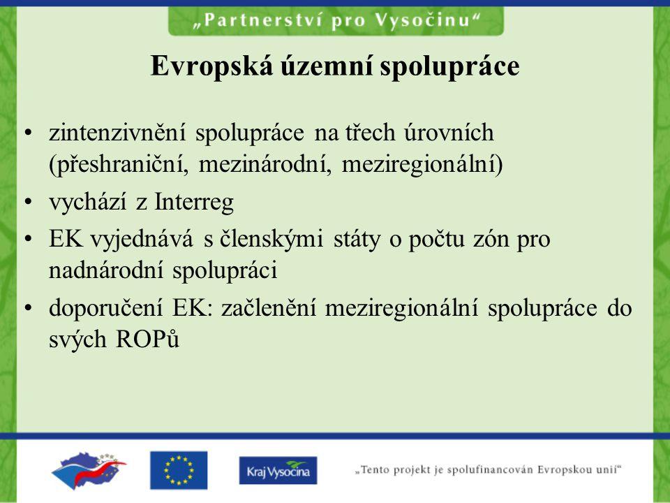 Evropská územní spolupráce zintenzivnění spolupráce na třech úrovních (přeshraniční, mezinárodní, meziregionální) vychází z Interreg EK vyjednává s členskými státy o počtu zón pro nadnárodní spolupráci doporučení EK: začlenění meziregionální spolupráce do svých ROPů