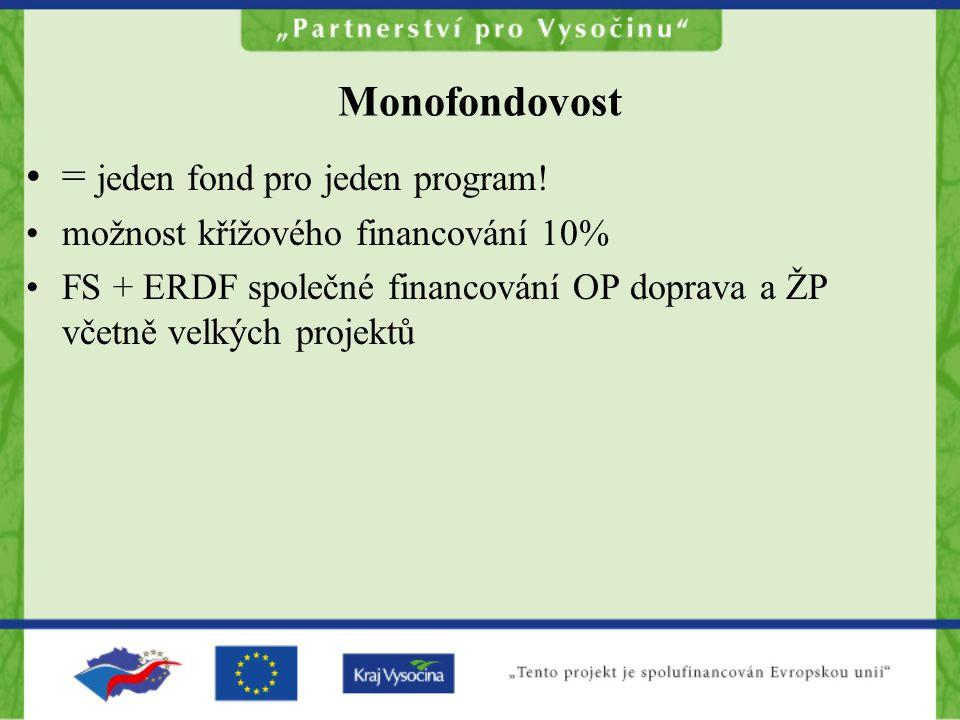 Monofondovost = jeden fond pro jeden program! možnost křížového financování 10% FS + ERDF společné financování OP doprava a ŽP včetně velkých projektů