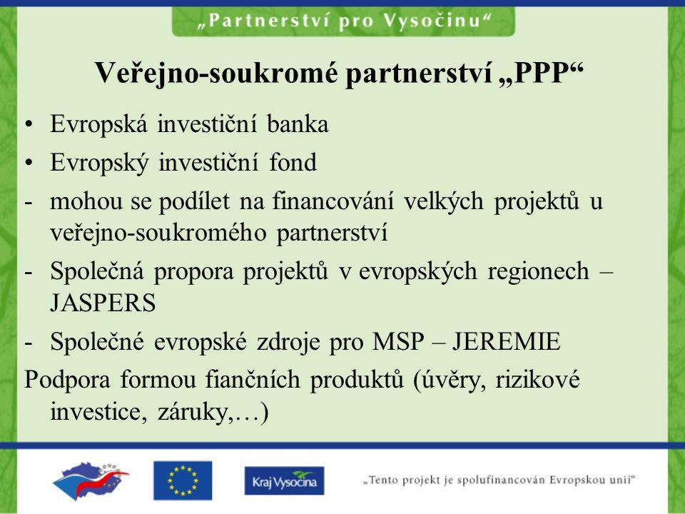 """Veřejno-soukromé partnerství """"PPP Evropská investiční banka Evropský investiční fond -mohou se podílet na financování velkých projektů u veřejno-soukromého partnerství -Společná propora projektů v evropských regionech – JASPERS -Společné evropské zdroje pro MSP – JEREMIE Podpora formou fiančních produktů (úvěry, rizikové investice, záruky,…)"""