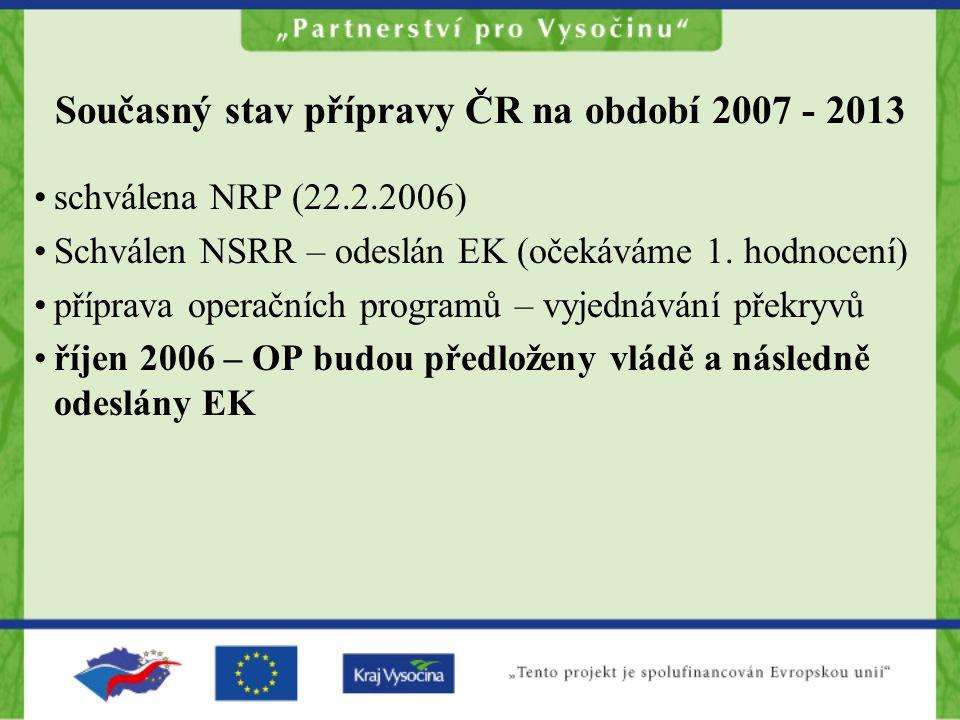 Současný stav přípravy ČR na období 2007 - 2013 schválena NRP (22.2.2006) Schválen NSRR – odeslán EK (očekáváme 1. hodnocení) příprava operačních prog