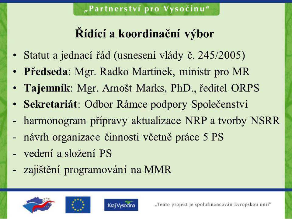 Řídící a koordinační výbor Statut a jednací řád (usnesení vlády č. 245/2005) Předseda: Mgr. Radko Martínek, ministr pro MR Tajemník: Mgr. Arnošt Marks